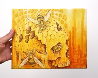 Original Painting on Canvas, Honeycomb Skull with Bees, 8x10 in