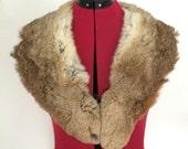 Rabbit Fur Collar or Lapel with Navy & Crimson Lining