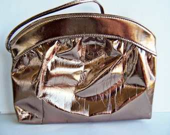 Vintage Handbag Metallic Bronze Leatherette, Early 1980s  Fashion Shoulderbag converts to Clutch