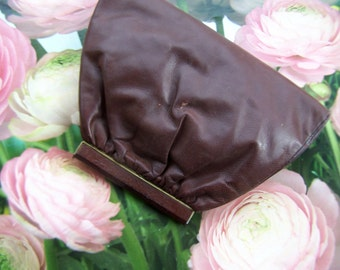 Vintage Brown Handbag Leatherette Small Clutch with sewn in satin coin purse from the 1950s Fashion Handbag