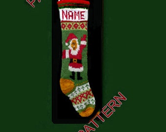Pattern only  ---  Hand knit Christmas stocking,  Santa and snowflake