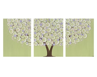 Nursery Wall Art Girl - Purple and Green Textured Tree Canvas Painting Triptych - Large 50x20