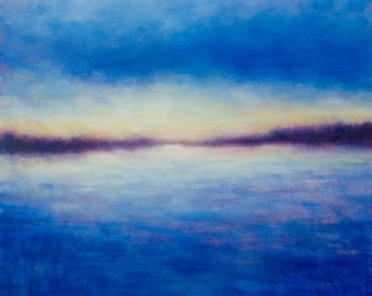 Abstract Landscape Painting  Night Horizon Blue