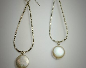 Sterling silver large tear drop stamped earrings with white freshwater coin pearl