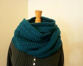 Extra Long Bulky Chunky Knit Teal Scarf Made to Order