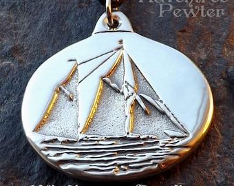 Windjammer Angelique - Pewter Pendant - Ketch Schooner Midcoast Maine, Ocean Sailing Ship Jewelry