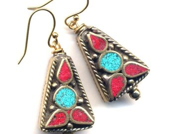 Nepal Earrings, Tibet Earrings with Turquoise and Coral, Nepal Beads on 18K Gold Filled Wire, Floral Design,  Nepal Jewelry by AnnaArt72
