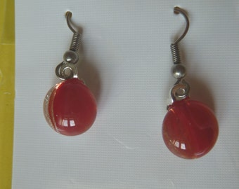 Hypo-Allergenic Red & Silver Dichroic Glass Drop Earrings with Surgical Steel Ear Wires