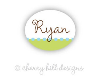 CONFETTI LIME BLUE Mini Oval Bottle and Sippy Cup vinyl waterproof labels - huge set of 66
