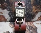 Simple Steampunk Wrist Watch Dark Brown Leather