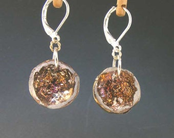 MINI GEODE  - Bismuth Crystal Earrings - Bright Iridescent Crystal Lined Geode e12