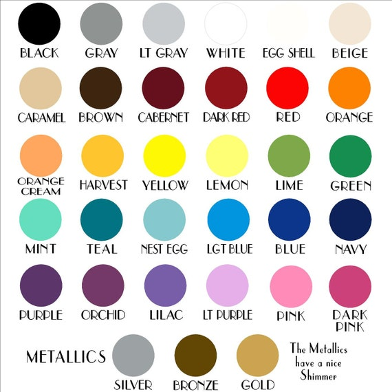 2 vinyl color samples vinyl lettering wall decal by for Vinyl lettering colors