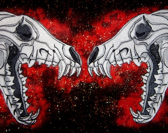 Anatomical Dire Wolf Skull Pair Iron on Patch