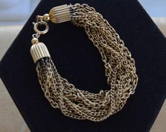 "Pretty Vintage Gold tone Multli-Strand Bracelet, 7-1/4"" (D11)"