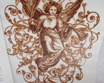 Daisy Kingdom, Transfer Treasures, Heralding Angel, Angel Messenger, Heat Applied Image, Sewing Supplies,Unique Transfer, Christmas, 1995,