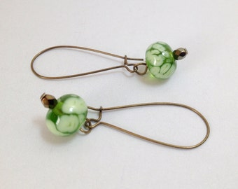 Olive Fluff Earrings - Antique Brass and Lampwork Glass on Kidney Ear Wires (E-485)
