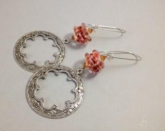 Silver Open Medallion Earrings and Lampwork Glass (E-528)