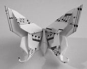10 Large Swallowtail 3D Origami Butterflies - Music Note Print