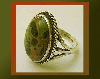 Just SPOTTED, Navajo Sterling Silver Ring, Attractive Earth Tones Stone, Brown/Green/Black, Native American Ring, Vintage Jewelry, Women