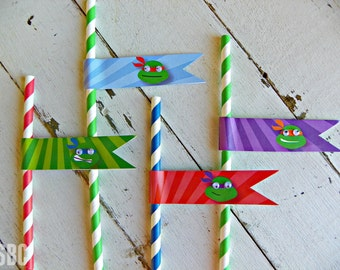 TMNT Straw Flags...Set of 12 Straw Flags with Straws