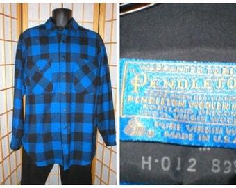80s Pendleton blue / black wool plaid shirt mens size medium