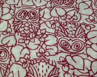 4 1/8 yards 46 wide 80s owl print cotton dressmaking fabric