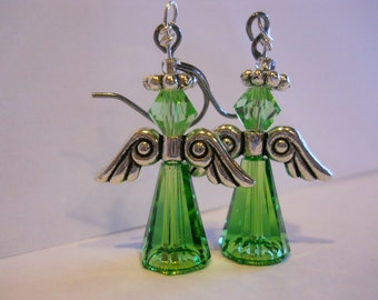 St Patricks Day Angel Earrings Swarovski crystal  earring Fern Green Swarovski Crystal Angel earring Angel earring Made in USA