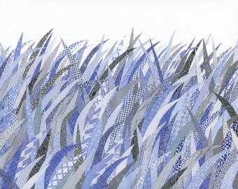 Security Blue Grass, print of an orginal collage made with envelopes
