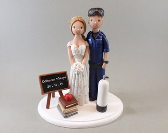 Cake Topper Police Diver & Teacher