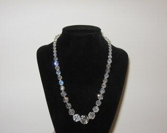 """Vintage Crystal Necklace Aurora Borealis 18"""""""