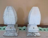 Vintage Shabby Chic Whitewash Finial Newel Cap Wood Pair