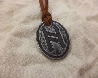 Primitive Etched Aluminum Hagal Rune