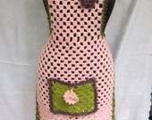 Retro Style (new) hand crochet bib for Cuties kitchens