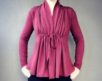 Cinched cardigan - organic cotton in berry red or more colors, organic clothes for women, organic cotton sweatshirt