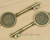 5 Key Pendant Settings 20mm Circle Antique Bronze  (19-30-100) Blank Cabochon Setting