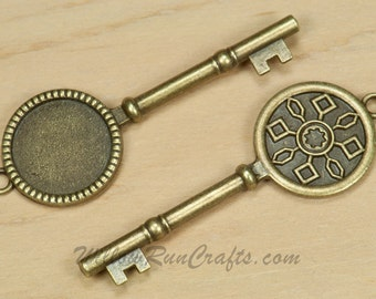 20 Key Pendant Settings  20mm Circle Antique Bronze,  Blank Cabochon Setting (19-30-100)