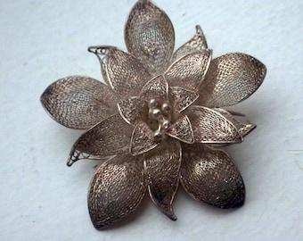 Rare Vintage Filigree Sterling Silver Brooch/Pin - 950 Silver - Handmade