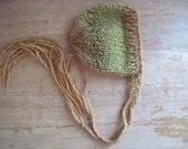 Rain forest bonnet - green brown orange - Newborn - READY TO SHIP - hand knit - newborn photo prop - boy girl