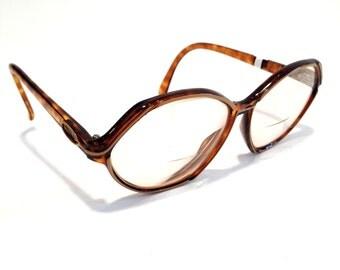 Vintage glasses retro glasses christian dior glasses Brown glasses Tortoise Shell glasses Designer Glasses oversized glasses Frames