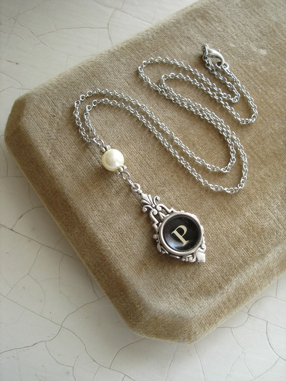 Typewriter Key Jewelry. Letter P Necklace. Vintage Typewriter Key Necklace & Pearl. Monogram Necklace. Upcycled Jewelry. Repurposed Jewelry.