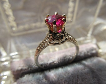 Danusharose Vintage Raspberry Red Ruby HighCrown Set  Princess Engagement Floral Ring w/ Fine Jewelry Report  included