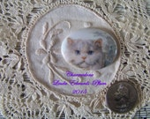 Cameo Darling White Cat 40x30 Oval POrcelain Hand Applied decal ECS