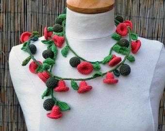 Crochet necklace lariat cotton flower floral salmon pink 3d flowers