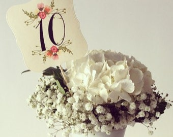 Table Numbers, Wedding, Shower, Table number on a stick, Flower table numbers
