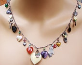 "1950's SILVER Graduated Sizes, Charm Necklace:  16 Hearts, Enamels, Glass, MOP, Tiger Eye, Bone - 28"" - Valentine, tokens of affection"