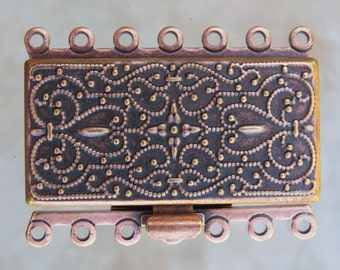 36x26x5mm Antique Copper Finish on Solid Brass Metal 7 Strand Box Clasp (FS26)
