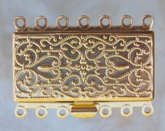 36x26x5mm Matte Gold Finish on Solid Brass Metal 7 Strand Box Clasp (FS25)