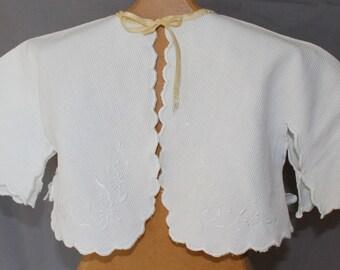 Vintage Baby Infant Bed Jacket, White Cotton, 1920's to 1930's Era
