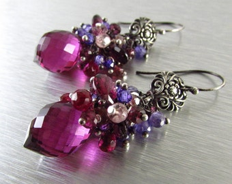 Spinel, Quartz and Rhodolite  Garnet Cluster Earrings - Gemstone Post Earrings