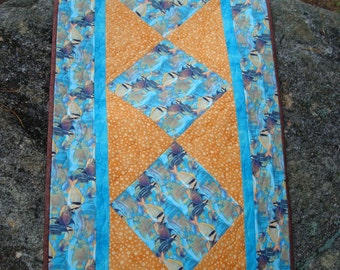 Blue and Gold Tropical Fish Quilted Table Runner